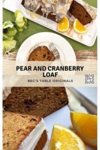 Pinterest image for Pear and Cranberry loaf recipe
