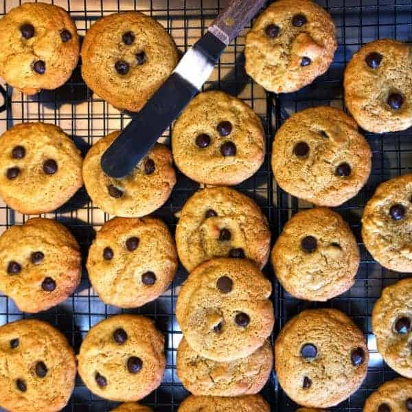 Choc Chip Cookies straight out of the oven | becs-table.com.au