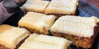 Cream Cheese buttercream topped banana tray bake