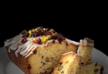Image of a Cranberry, Pistachio and White chocolate loaf on a plate