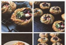 A collage of beetroot and feta parcel images